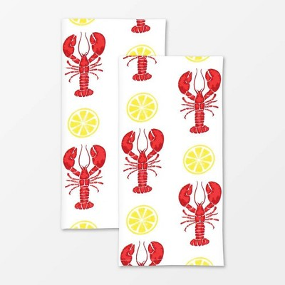 2pk Designer Lobster Print Towel Red/White - MU Kitchen