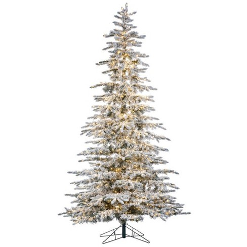 Mountain Christmas Tree.9ft Sterling Tree Company Full Flocked Mountain Pine Pre Lit Led Artificial Christmas Tree