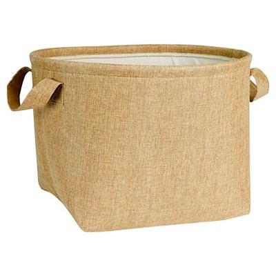 Household Essentials Round SoftSide Burlap Basket Brown