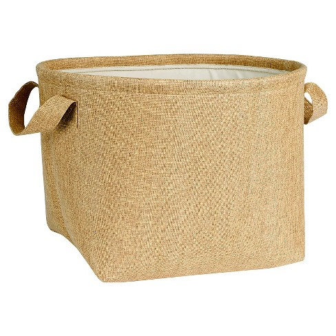 Household Essentials - Round Soft-Side Burlap Basket - Brown - image 1 of 3