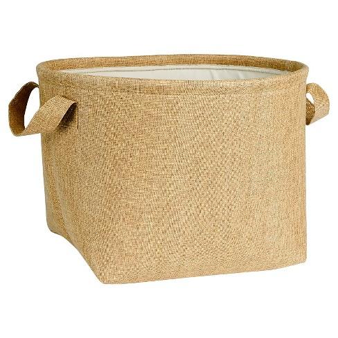 Household Essentials Round SoftSide Burlap Basket Brown - image 1 of 3