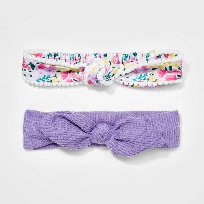 Girls' 2pk Floral Knit Headband - Cat & Jack™ White/Lilac
