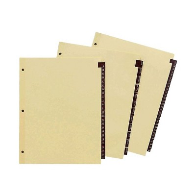 Staples Monthly Leather Dividers 12-Tab Black (13551/11484)