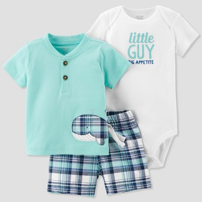 Baby Boys' 3pc Plaid Whale Set - Just One You® made by carter's Green 9M
