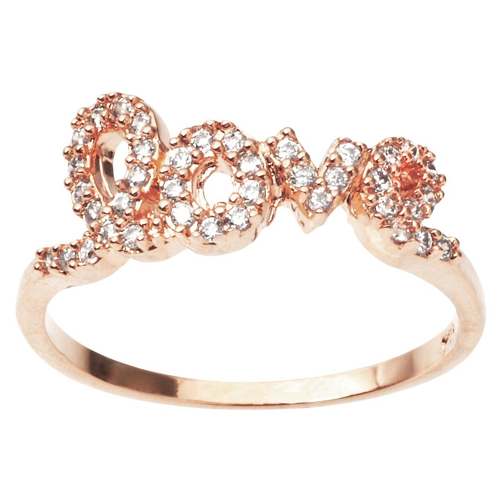 3/8 CT. T.W. Round Cut CZ Pave Set Love Ring in Sterling Silver - RoseGold (9), Rose Gold