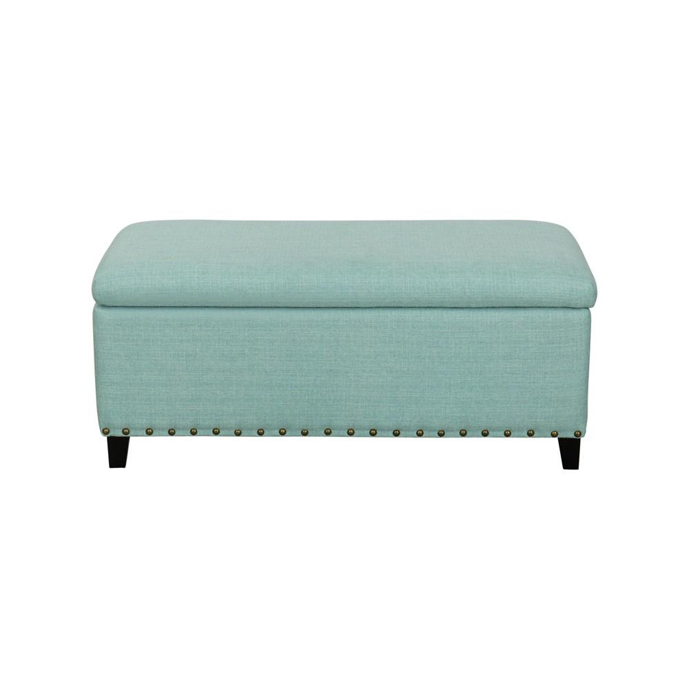 John Boyd Designs Harris Upholstered Storage Bench with Nailheads Aqua