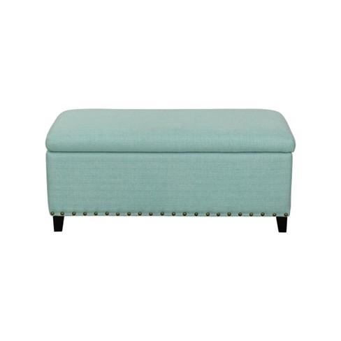 Terrific John Boyd Designs Harris Upholstered Storage Bench With Nailheads Aqua Pdpeps Interior Chair Design Pdpepsorg