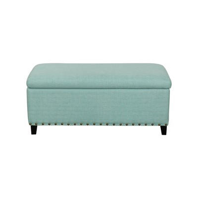 John Boyd Designs Harris Upholstered Storage Bench With Nailheads Aqua :  Target