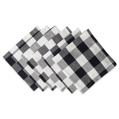 6pk Cotton Buffalo Check Napkins Black - Design Imports