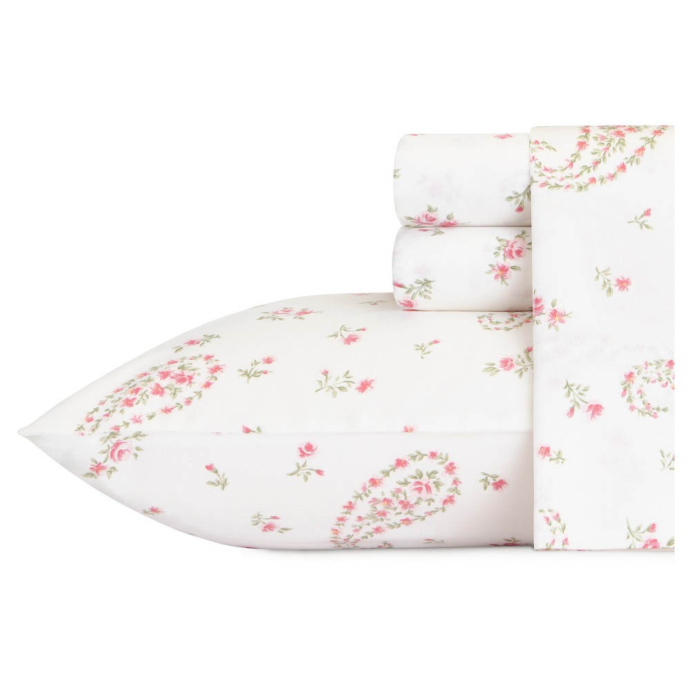 Image of Bristol Paisley Sheet Set (King) Pink 300 Thread Count - Laura Ashley