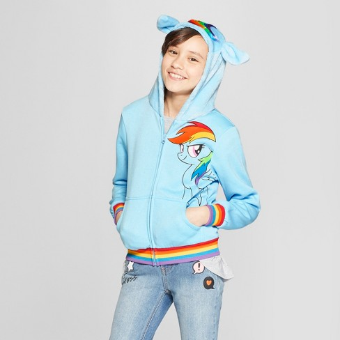 ab74f953773 Girls  My Little Pony Costume Zip-Up Hoodie - Light Blue   Target