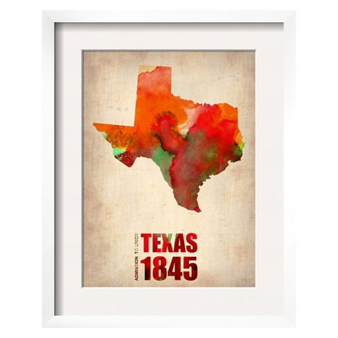 Art.com - Texas Watercolor Map Framed Print - image 1 of 2