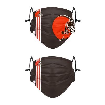 NFL Cleveland Browns Adult Gameday Adjustable Face Covering - 2pk