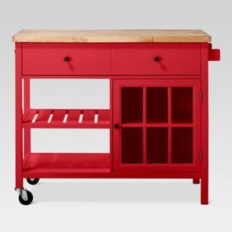 Windham Wood Top Kitchen Island - Red - Threshold™
