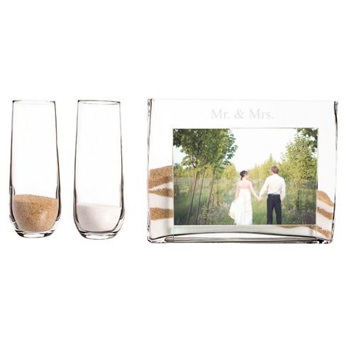 3ct Mr Mrs Wedding Sand Ceremony Photo Vase Unity Set Target