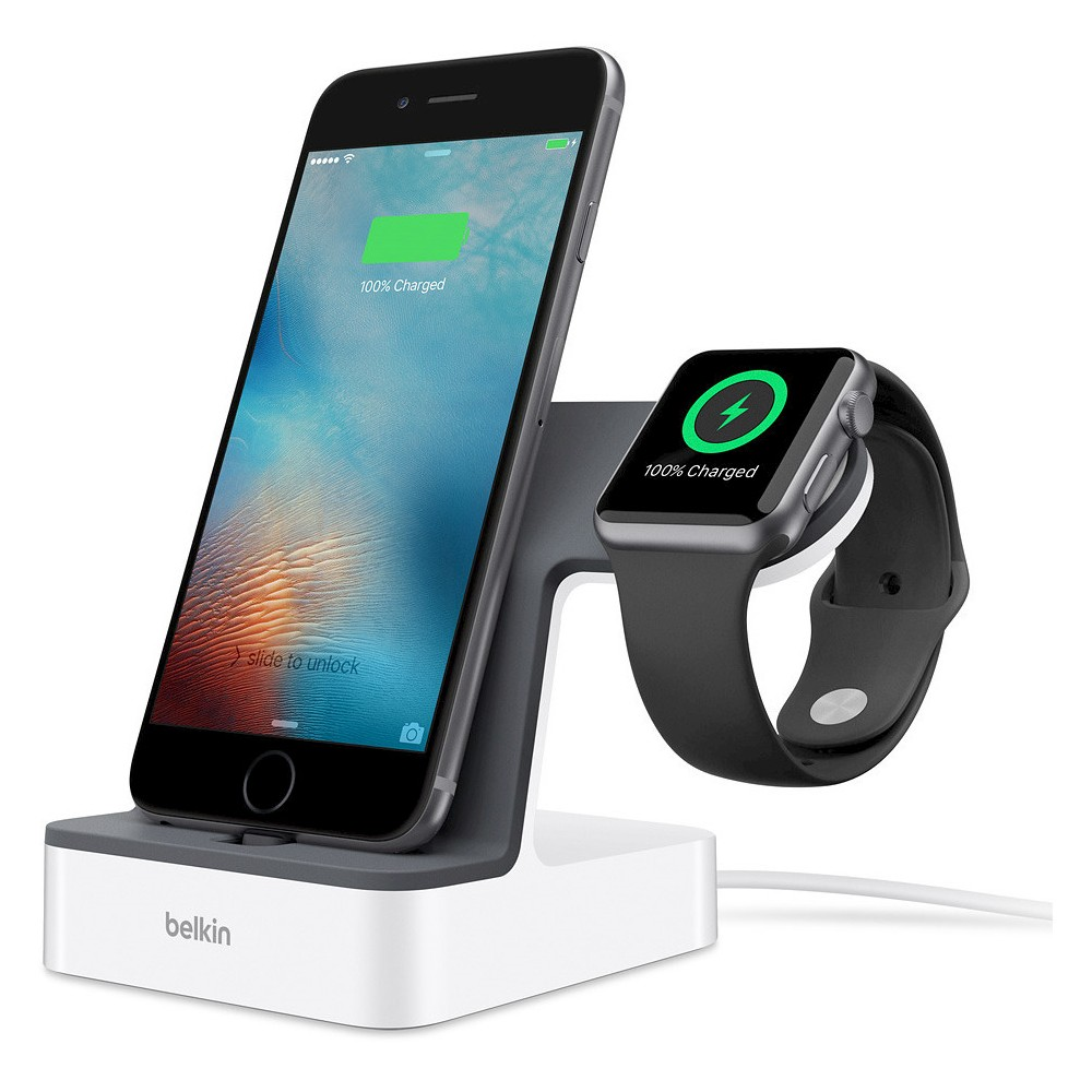 Belkin PowerHouse Charge Dock for Apple Watch + iPhone Charge and display your Apple Watch and iPhone simultaneously with the 2-in-1 PowerHouse Charge Dock for Apple Watch + iPhone. With a Magnetic Charging Module for the Apple Watch built into the dock, your Apple Watch aligns magnetically and begins charging instantly. The dock also features a built-in VersaCase Lightning connector to charge your iPhone, that can be adjusted to fit almost any case. Engineered to charge both devices at the fastest possible speed, the dock also elevates them for safety and visibility while they charge. Two integrated chargers within the dock provide simultaneous charging: a built-in Magnetic Charging Module specifically designed for your Apple Watch, and an adjustable Lightning connector for the iPhone that allows you to charge without removing the case. With a charger for Apple Watch hardwired into the dock, it frees up the one provided with your Apple Watch to use as a spare, at work, in the car or wherever it's needed. Gender: unisex.