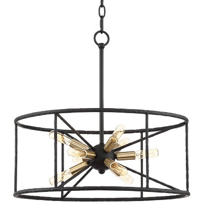 "Possini Euro Design Black Sputnik Pendant Chandelier 20 1/4"" Wide Modern Drum 9-Light Fixture for Dining Room House Foyer Kitchen"