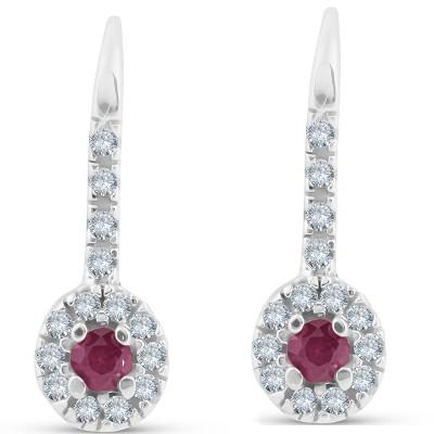 Pompeii3 1/4ct Ruby & Diamond Drop White Gold Earrings 14K White Gold