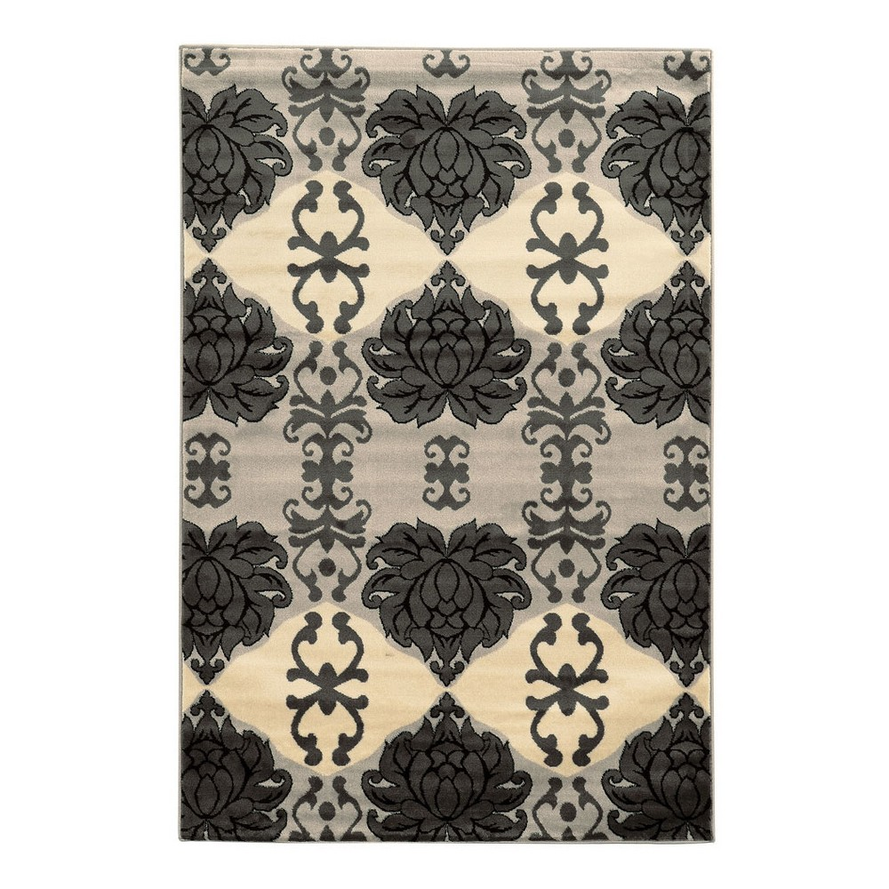 Gray Floral Loomed Oval Area Rug 8'X10' - Linon