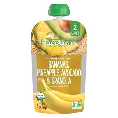 HappyBaby Bananas, Pineapple, Avocado & Granola Stage 2 Baby Food - 4oz