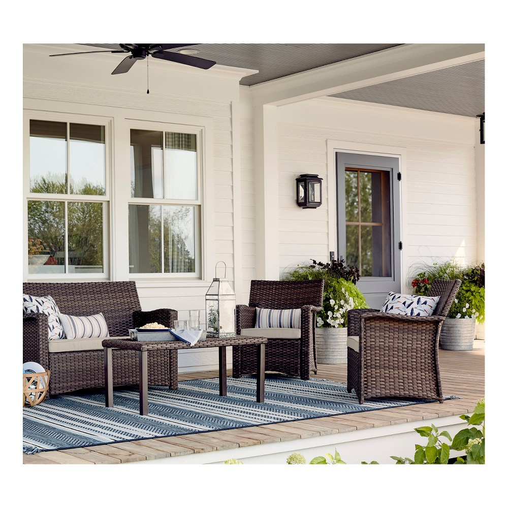 Halsted 4pc All Weather Wicker Patio Conversation Set - Charcoal (Grey) - Threshold