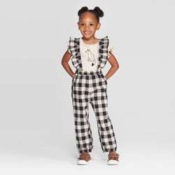 Toddler Girls' Fox T-Shirt and Buffalo Check Overall Set - art class™ Black/Cream
