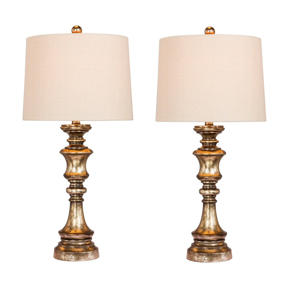 Image of 2pk Candlestick Antiqued Leaf Resin Table Lamps Bright Gold (Lamp Only) - Fangio Lighting