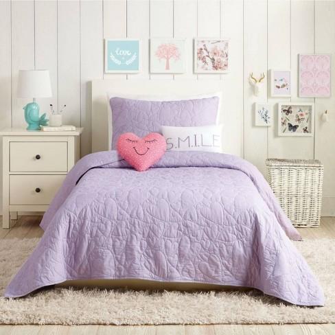 5pc Full Queen Heart Quilt Set Lavender, Pink Purple Bedspread Queen