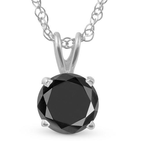 Pompeii3 1 1/4 Ct Black Diamond Solitaire Pendant Necklace In 14k White Gold - image 1 of 3