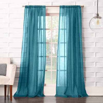 "84""x50"" Avril Crushed Texture Rod Pocket Semi-Sheer Curtain Panel Marine - No. 918"