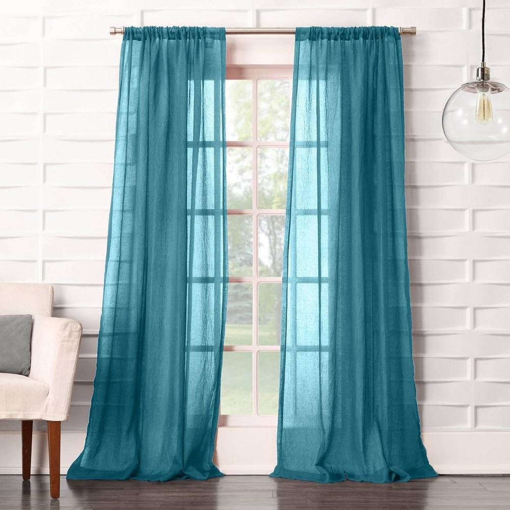 84 34 X50 34 Avril Crushed Textured Semi Sheer Rod Pocket Curtain Panel Marine No 918