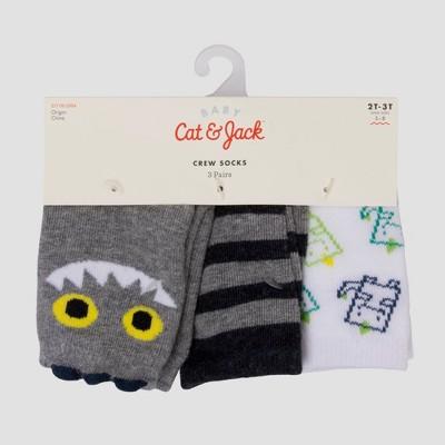 Baby Boys' 3pk Dino Crew Socks - Cat & Jack™ Gray 6-12M