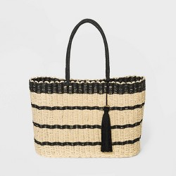 Striped Straw Tote Handbag - A New Day™ Natural