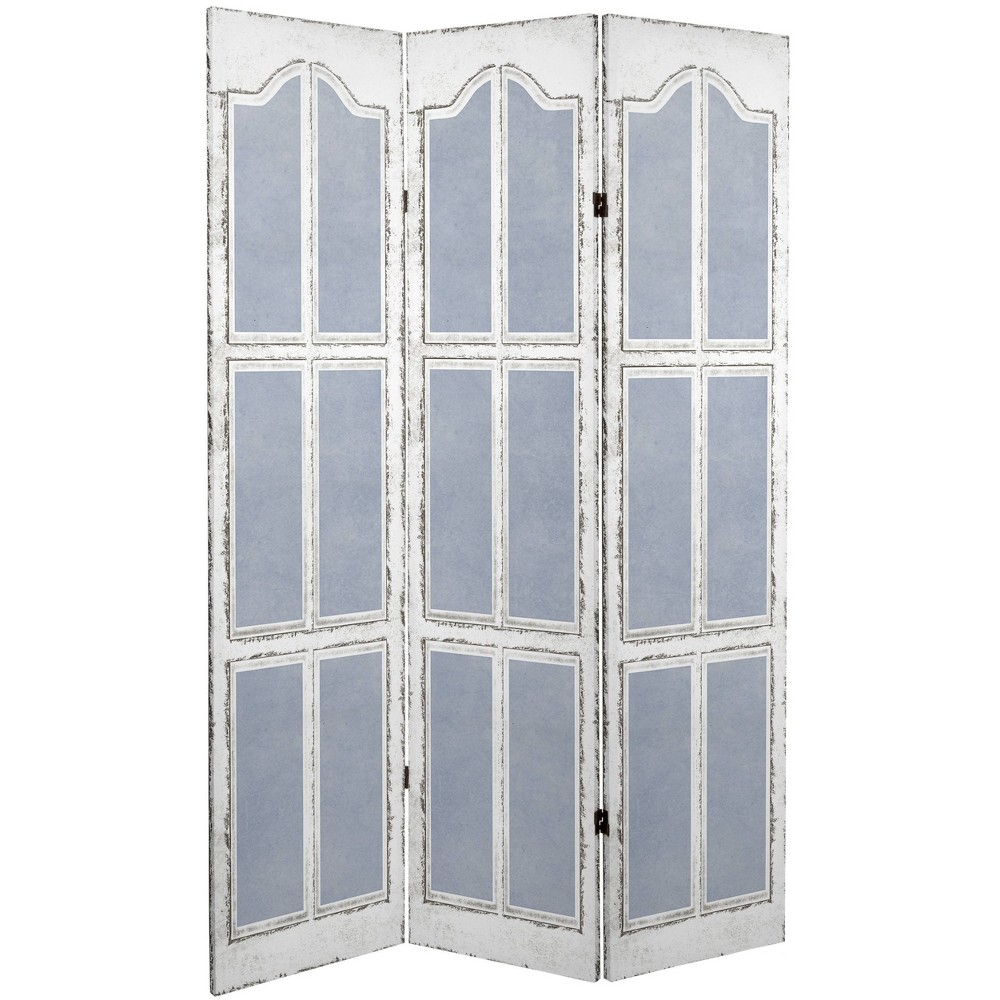 6 34 Double Sided Shutters Canvas Room Divider Blue Oriental Furniture