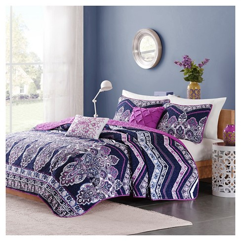 Blakely Paisley Chevron Print Quilted Coverlet Set - Purple - image 1 of 6