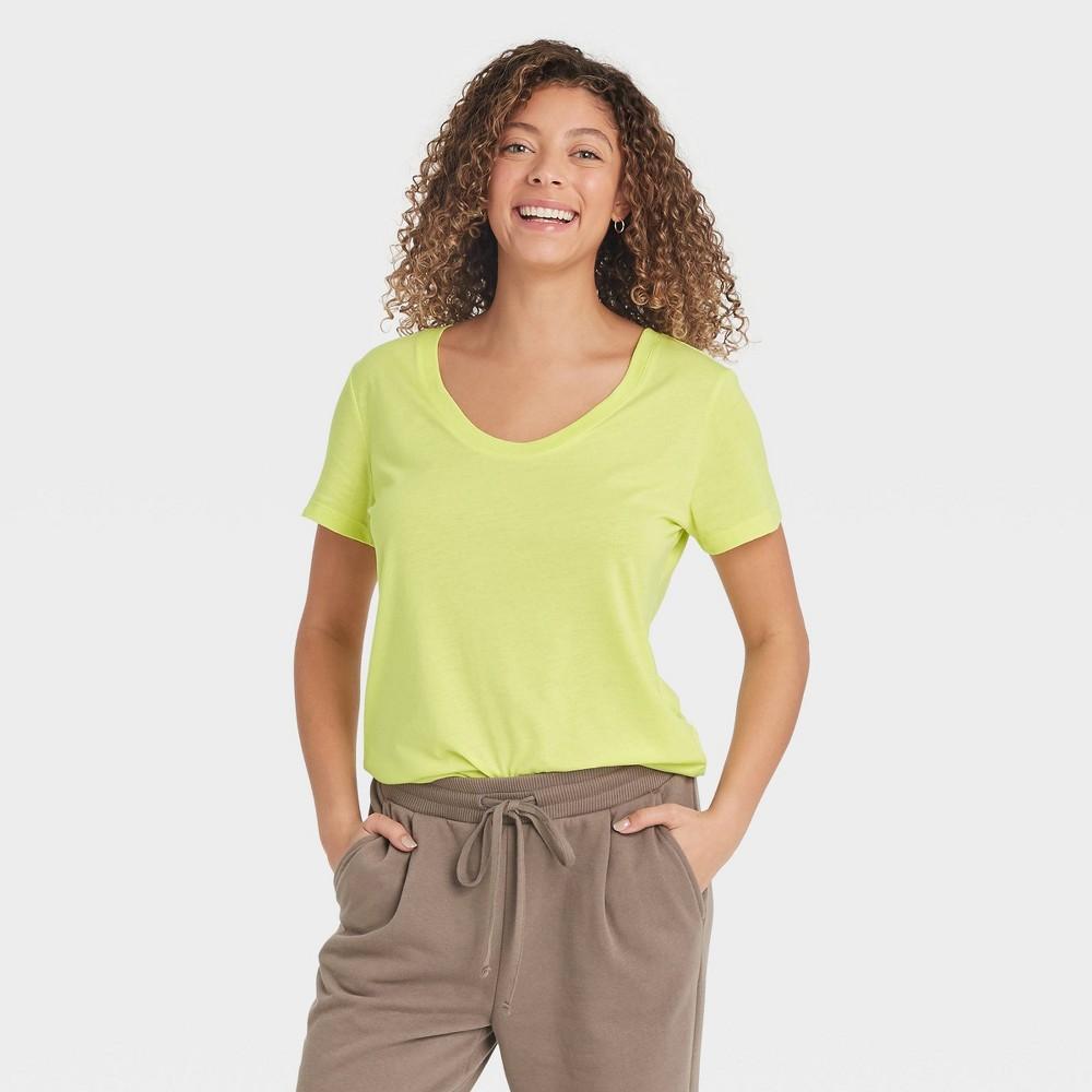 Women 39 S Short Sleeve Scoop Neck T Shirt A New Day 8482 Light Green Xxl