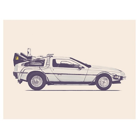 Delorean Back To The Future by Florent Bodart Unframed Wall Art Print - image 1 of 2