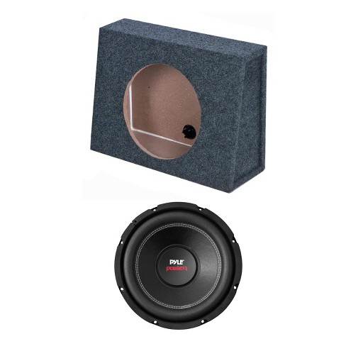 QPower Single 8 Inch Slim Shallow Sealed Subwoofer Enclosure Speaker Box  and Pyle PLPW8D 800 Watt DVC 8 Ohm Car Audio Subwoofer Speaker