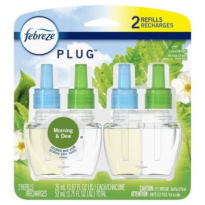 Febreze Plug Odor-Eliminating Air Freshener Scented Oil Refill - Gain Morning & Dew - 2ct