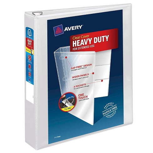 "Avery® 1.5"" Heavy Duty 3 Ring Binder with Clear Cover "" White - image 1 of 1"