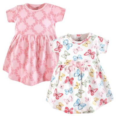 Touched by Nature Baby and Toddler Girl Organic Cotton Short-Sleeve Dresses 2pk, Butterflies