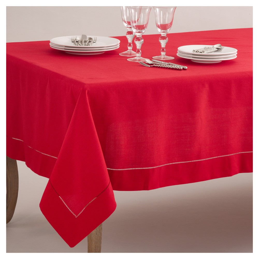 "Red Classic Hemstitch Border Design Tablecloth (70""x180"") Saro Lifestyle"