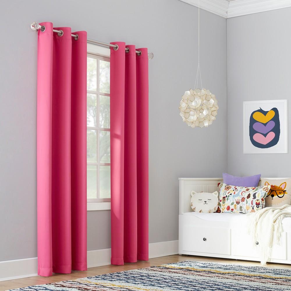 Riley Kids Bedroom Blackout Grommet Curtain Panel Pink 40
