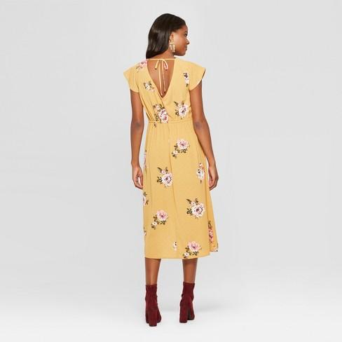 ebe2f0fa3285d Women's Floral Print Short Sleeve Wrap Ruffle Midi Dress - Xhilaration™ :  Target