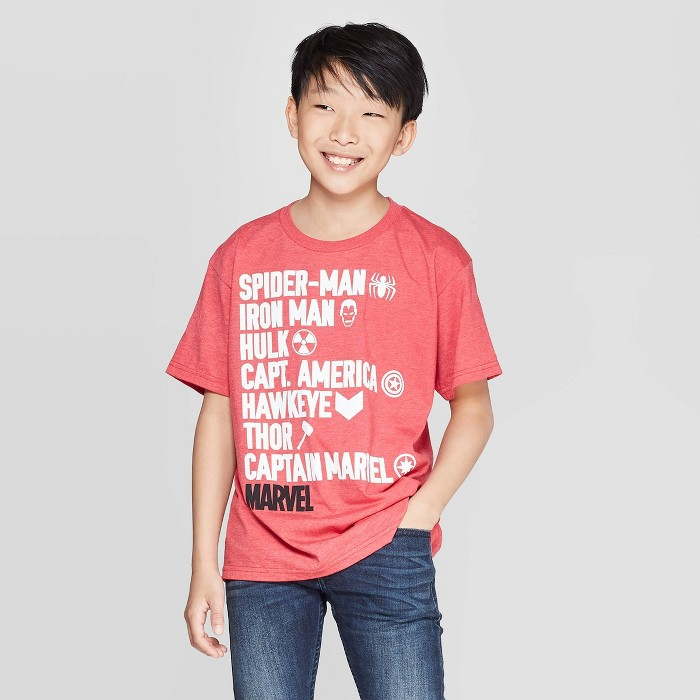 Boys' Avengers Stacked Character Names Short Sleeve T-Shirt - Red - image 1 of 3