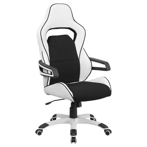 Executive Swivel Office Chair with Black Fabric Inserts White Vinyl - Flash Furniture - image 1 of 1