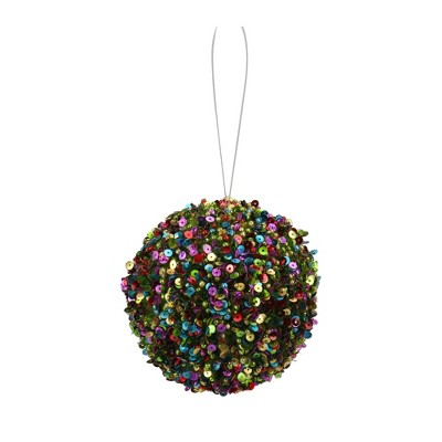 """Napco 4"""" Sequined Shatterproof Christmas Ball Ornament - Green/Blue"""