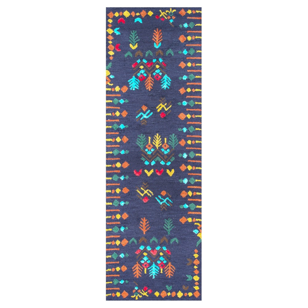 Blue Solid Tufted Runner - (2'6x8') - nuLOOM