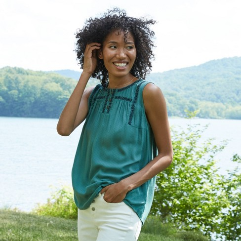 Women's Sleeveless Embroidered Woven Blouse - Knox Rose™ - image 1 of 4