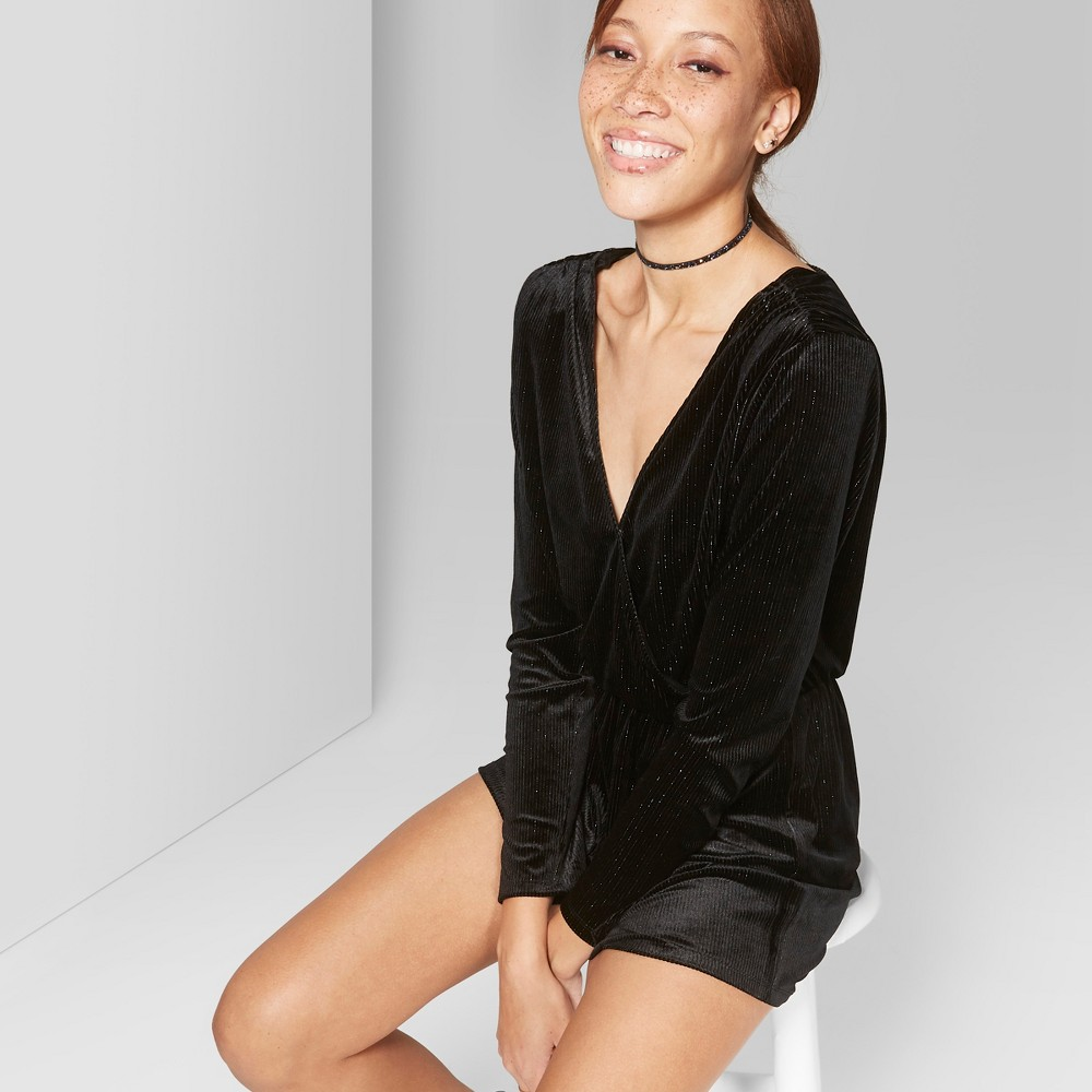 Women's Striped Long Sleeve V-Neck Romper - Wild Fable Black S